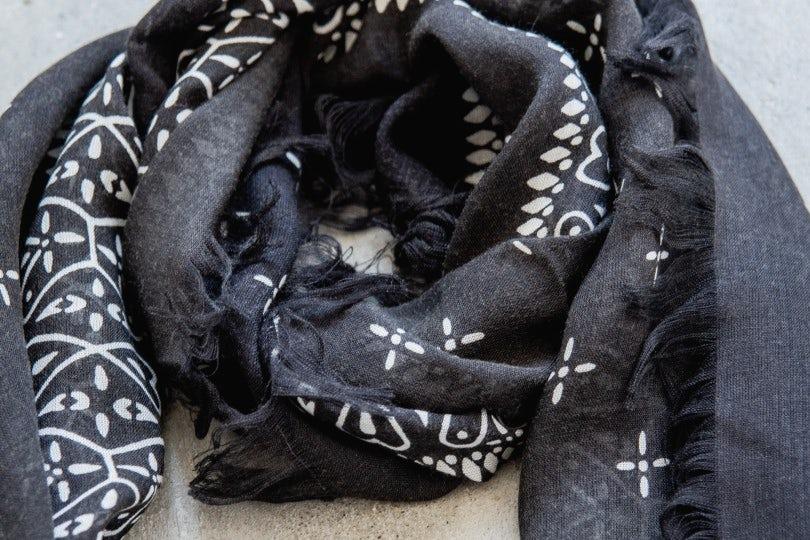 Kapital Rayon Dragonfly Bandana Print Fringe Stole Black