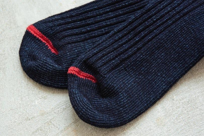 Blue Blue Japan Standard Rib Socks Indigo - Red Toe