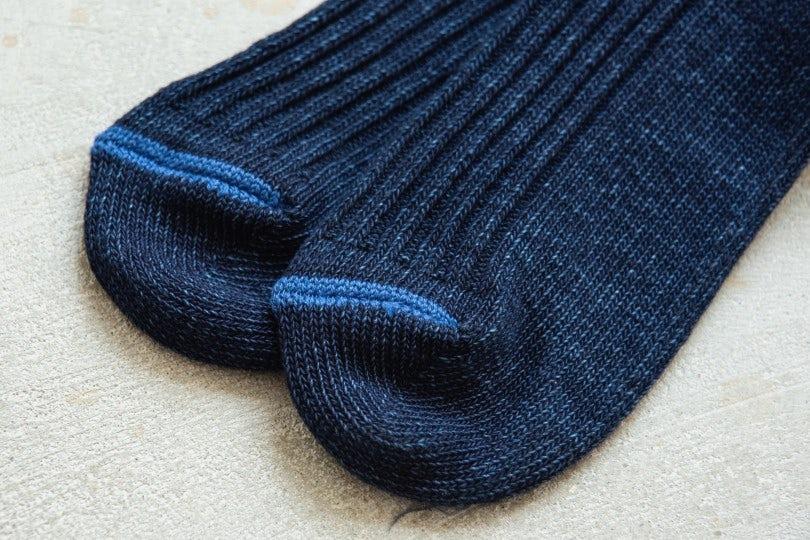 Blue Blue Japan Standard Rib Socks Blue - Blue Toe