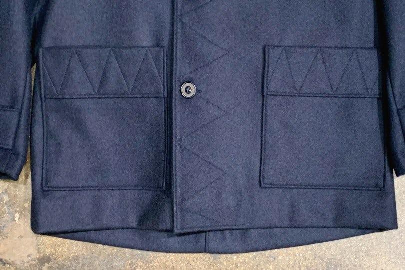 Arpenteur Kabig Melton Wool Coat Navy