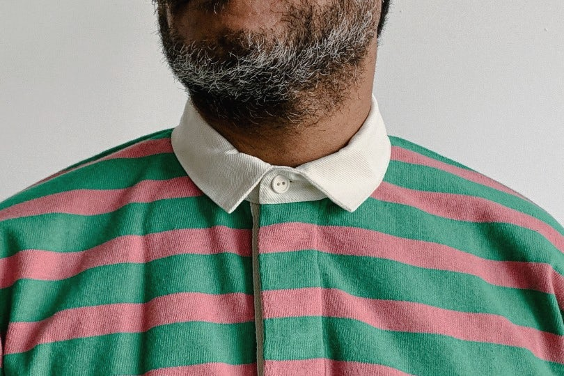 Drake's Rugby Shirt Green and Pink Stripe