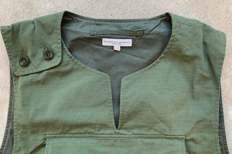 Engineered Garments Cover Vest Olive Ripstop