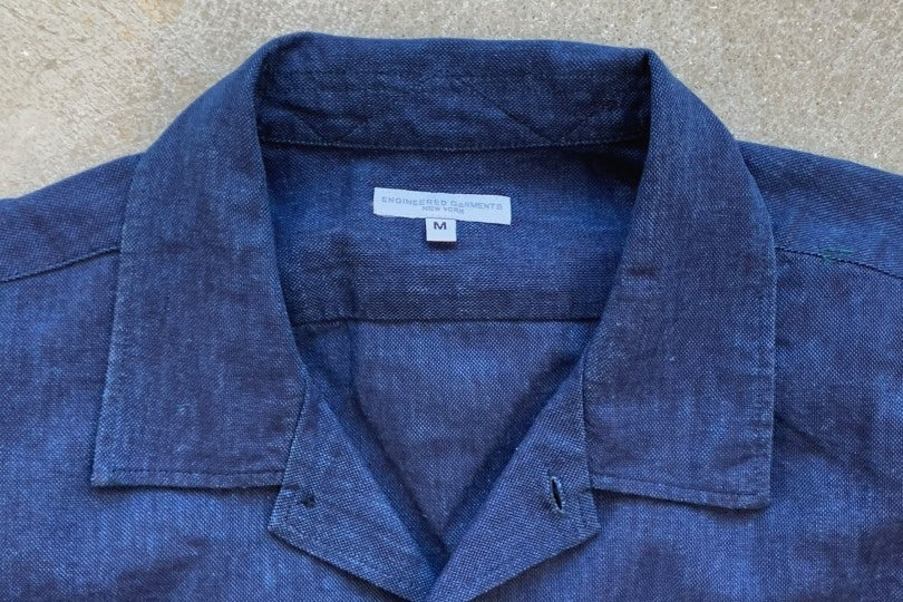 Engineered Garments Camp Shirt Navy CL Solid