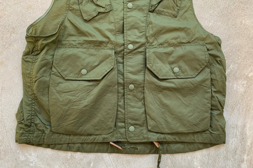 Engineered Garments Field Vest Olive Nylon Micro Ripstop
