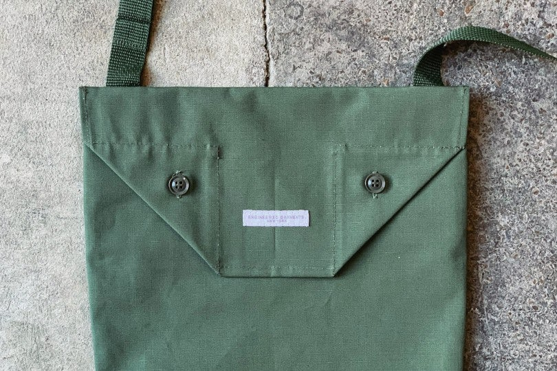 Engineered Garments Shoulder Pouch Olive Cotton Ripstop
