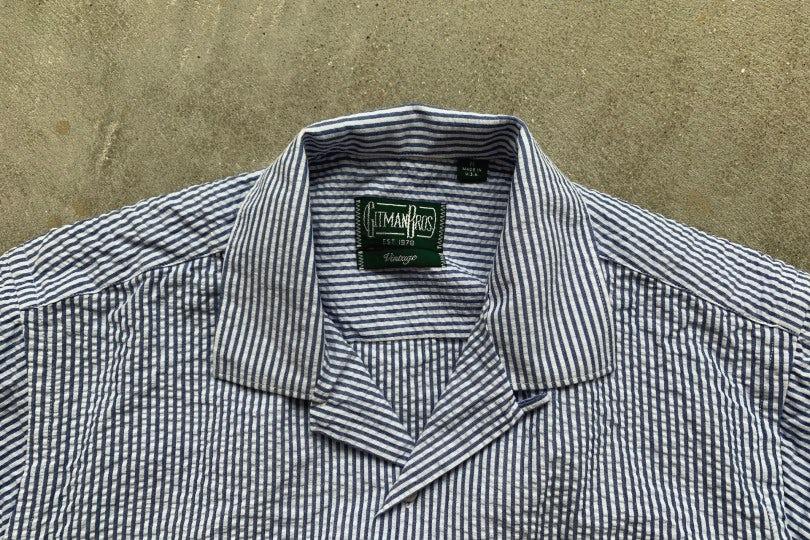Gitman Bros. Vintage Camp Shirt Blue/White Stripe Seersucker