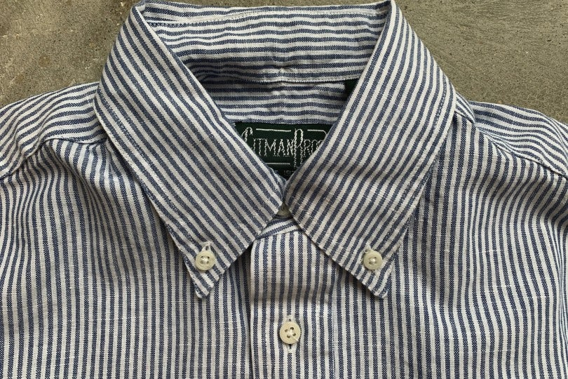 Gitman Bros. Vintage Short Sleeve Button Down Shirt Blue/White Stripe