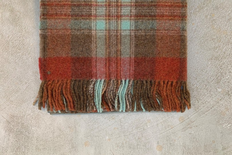 Kapital Country Wool Check Fringed Origami Poncho Brown