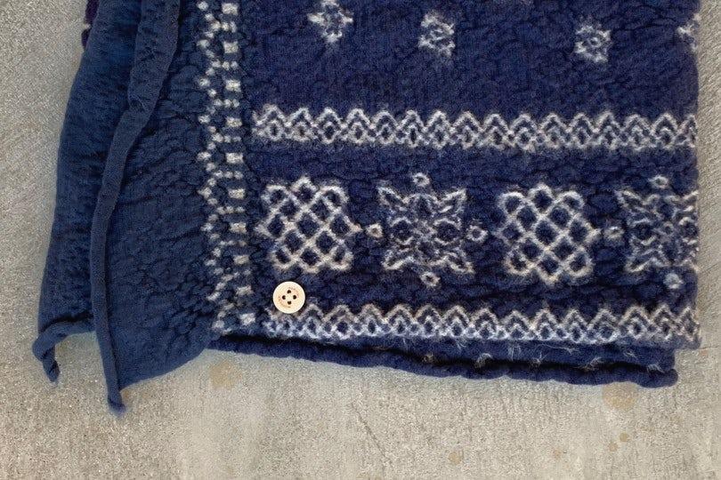 Kapital Compressed Wool Scarf Patchwork Navy