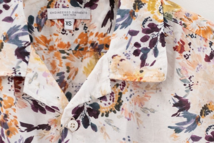 Engineered Garments Camp Shirt White Botany Printed Lawn