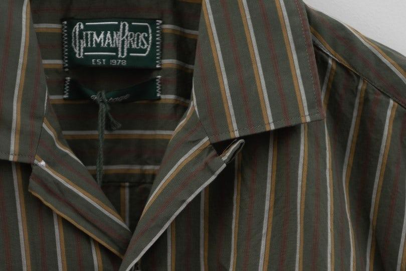 Gitman Bros. Vintage Camp Shirt Olive Stripe