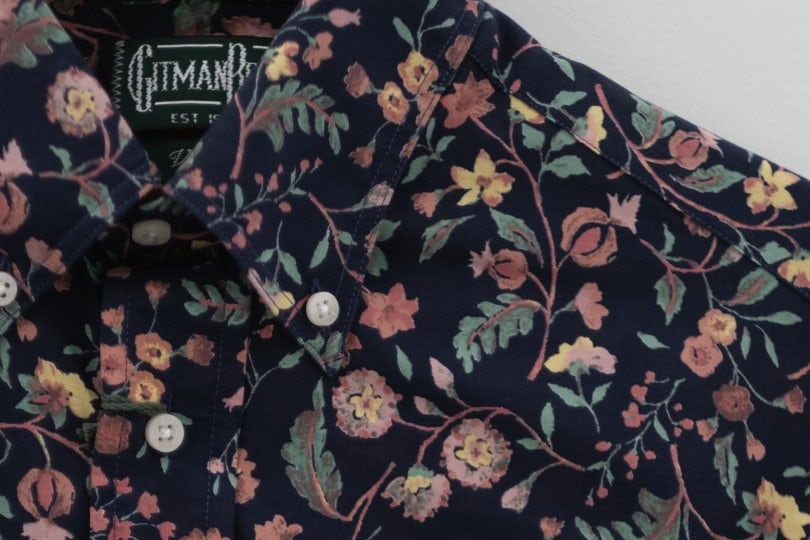 Gitman Bros. Vintage Short Sleeve Navy Pink Floral