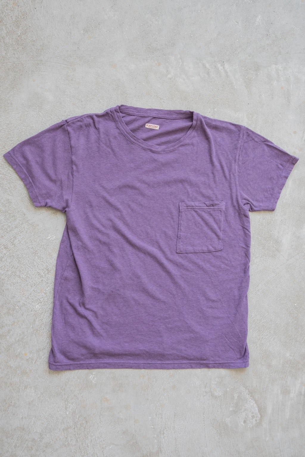 Kapital Gauze Jersey Crew Pocket T Purple