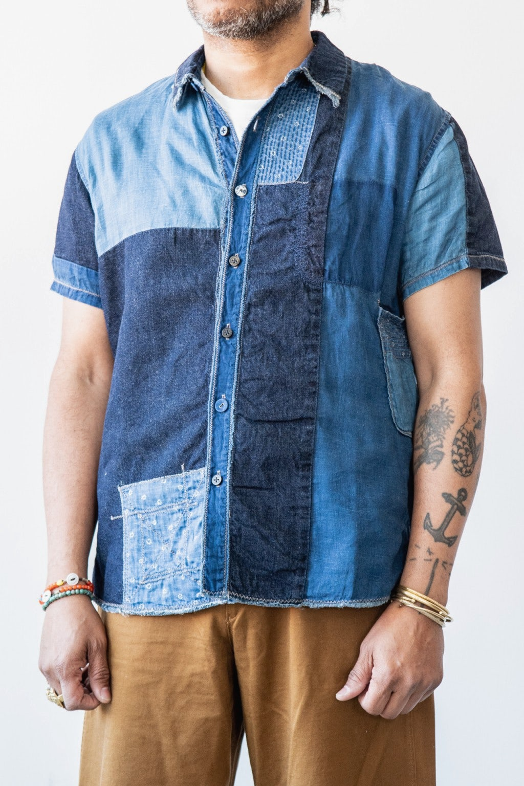 Kapital IDG Patchwork KATMANDU Shirt Indigo
