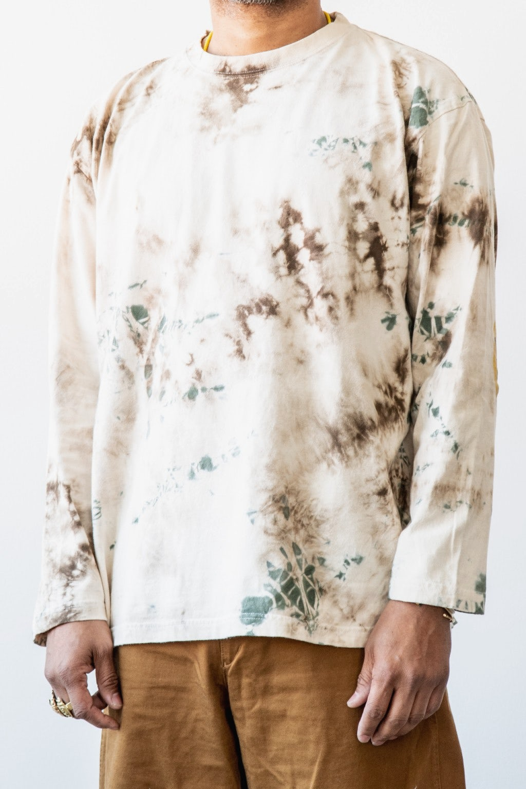 Kapital Jersey Smilie Patch Crew T (ASHBURY Dyed) Brown X Khaki