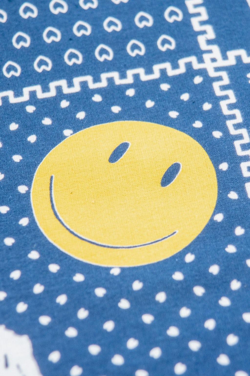 Kapital Fastcolor Selvedge Bandana (Mirrored FUJI Smile) Navy