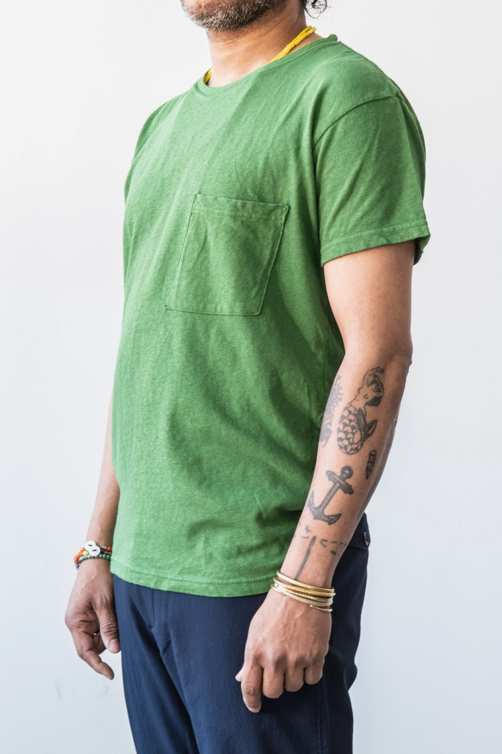 Kapital Gauze Jersey Crew Pocket T Green