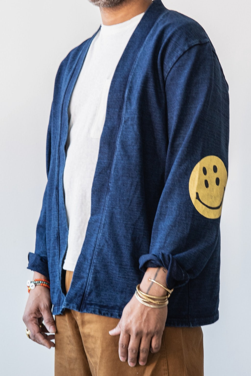 Kapital IDG Dense Jersey KAKASHI Cardigan (RAIN SMILE) Indigo
