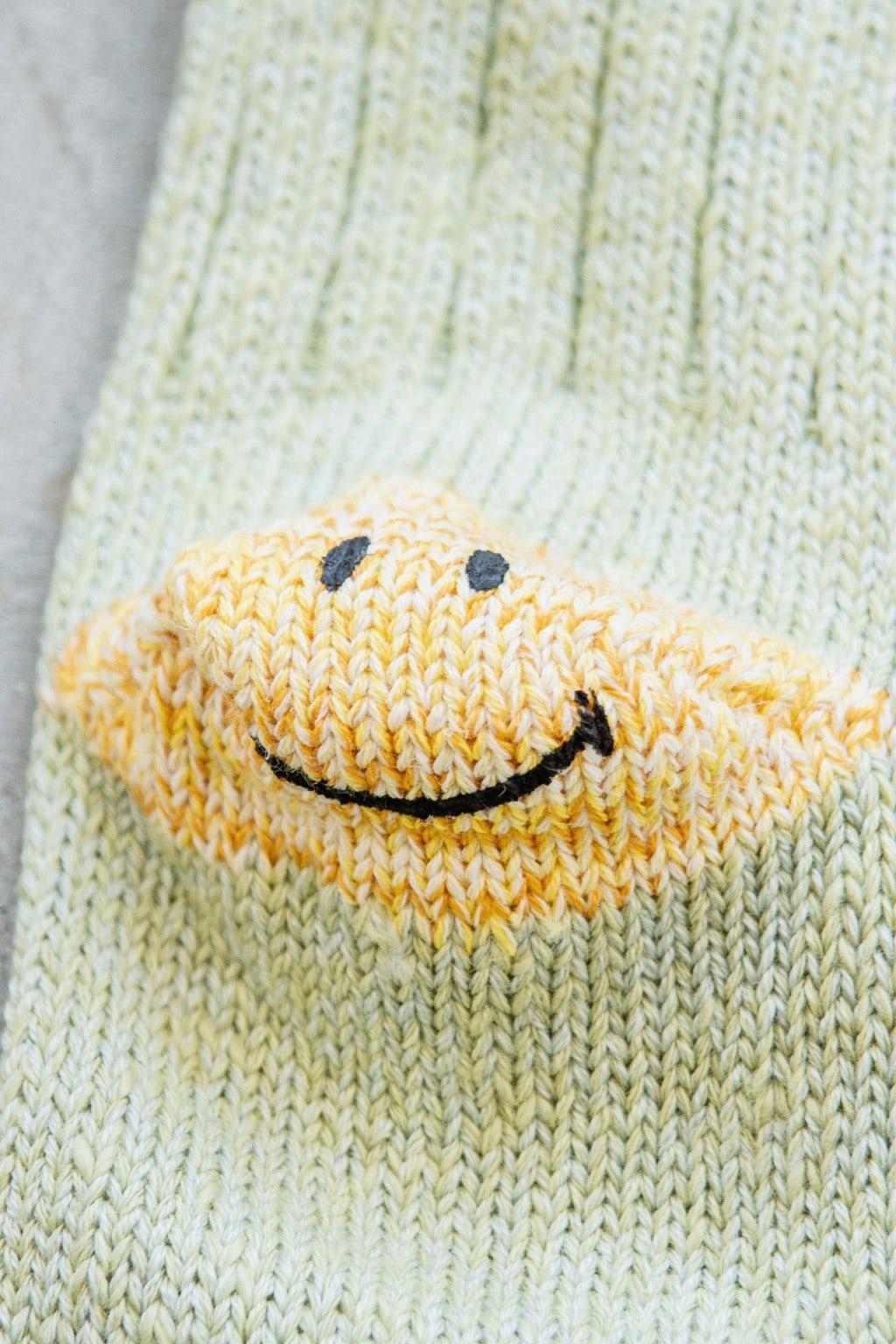 Kapital 56 Yarns 3x1 Rib Heel Smilie Socks Green