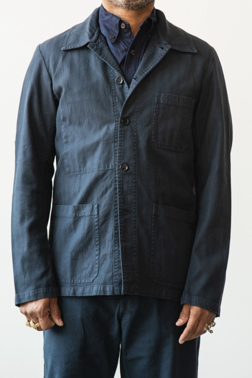 Vetra Chore Coat Navy Herringbone