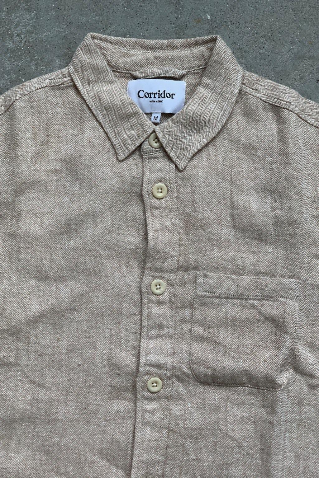 Corridor Natural Linen Herringbone Overshirt  Natural