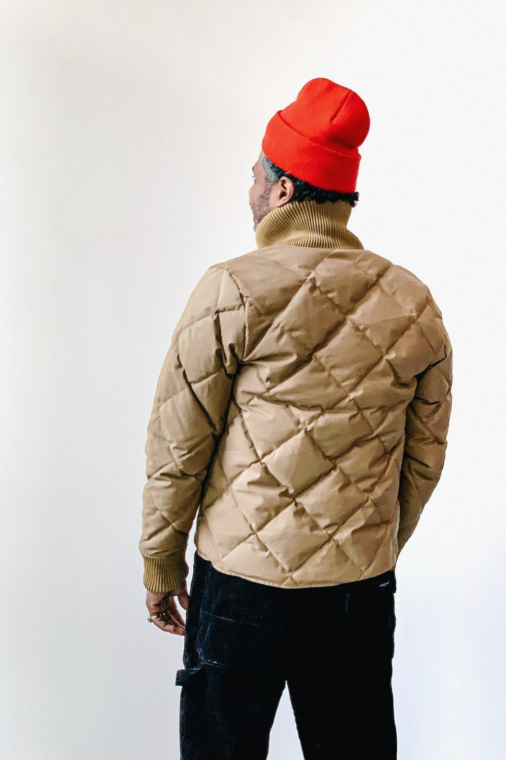 Crescent Down Works Diagonal Quilted Cold Weather Bomber Tan/Khaki