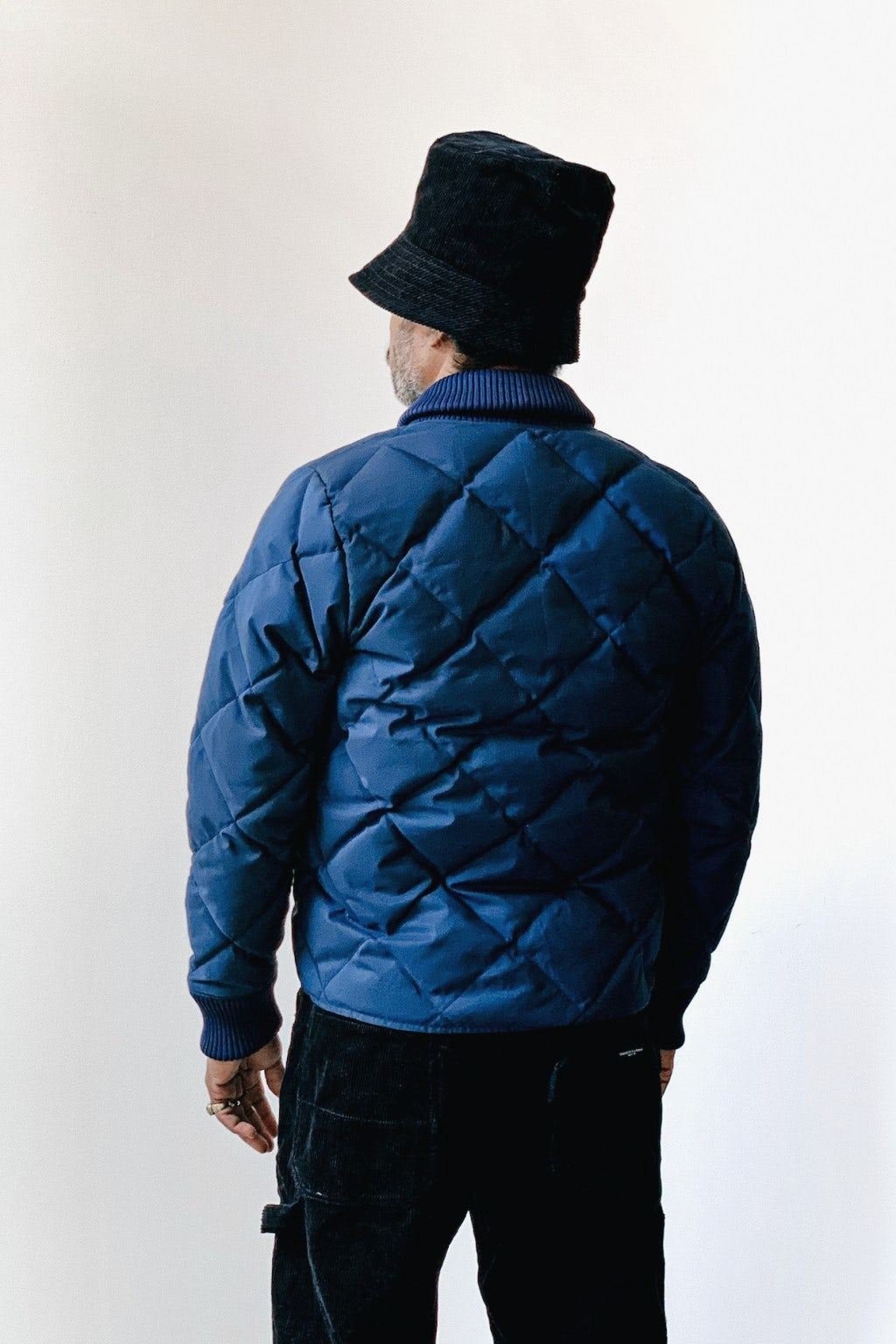 Crescent Down Works Diagonal Quilted Down Cold Weather Bomber Navy/Khaki