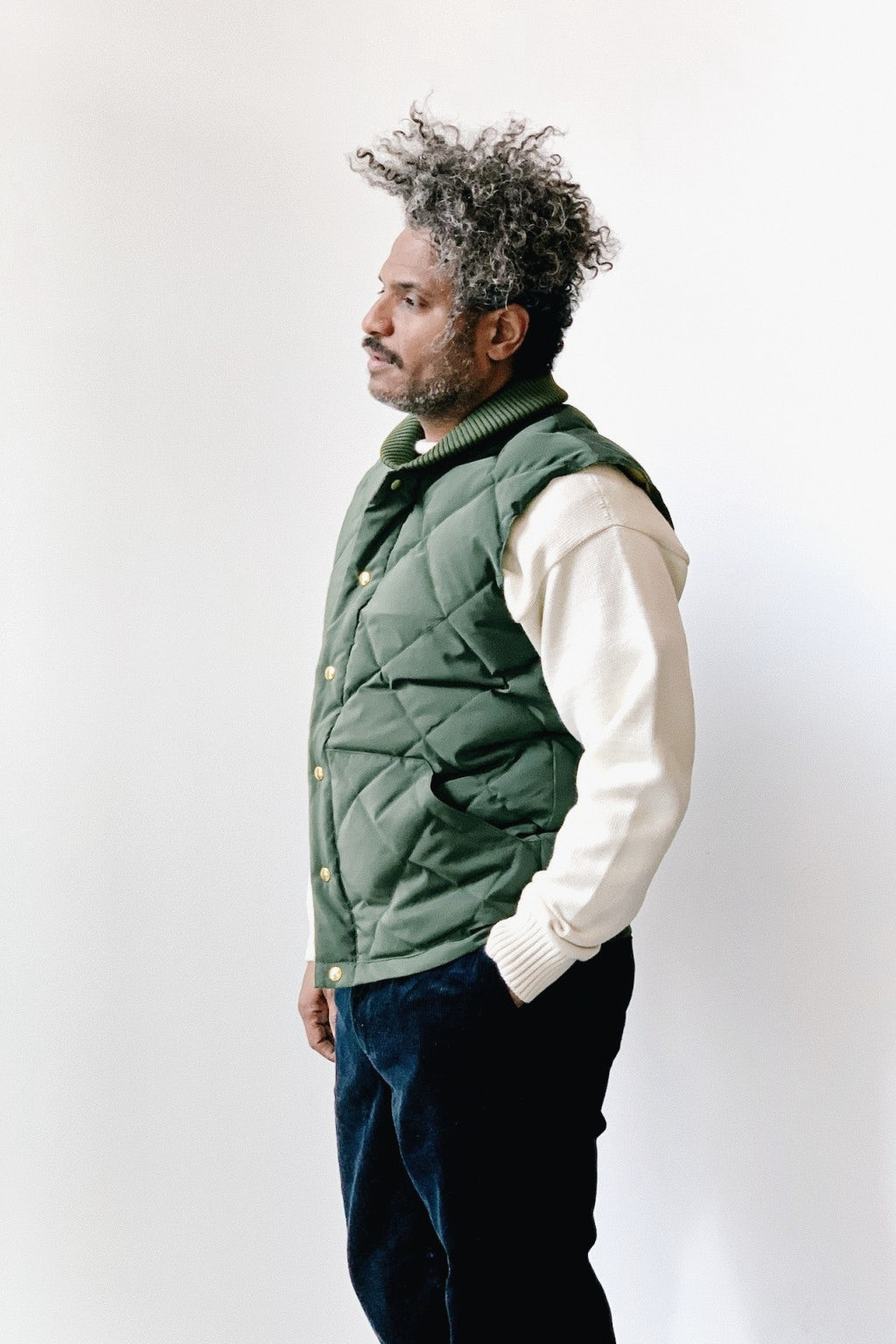Crescent Down Works Italian Vest Olive/Khaki