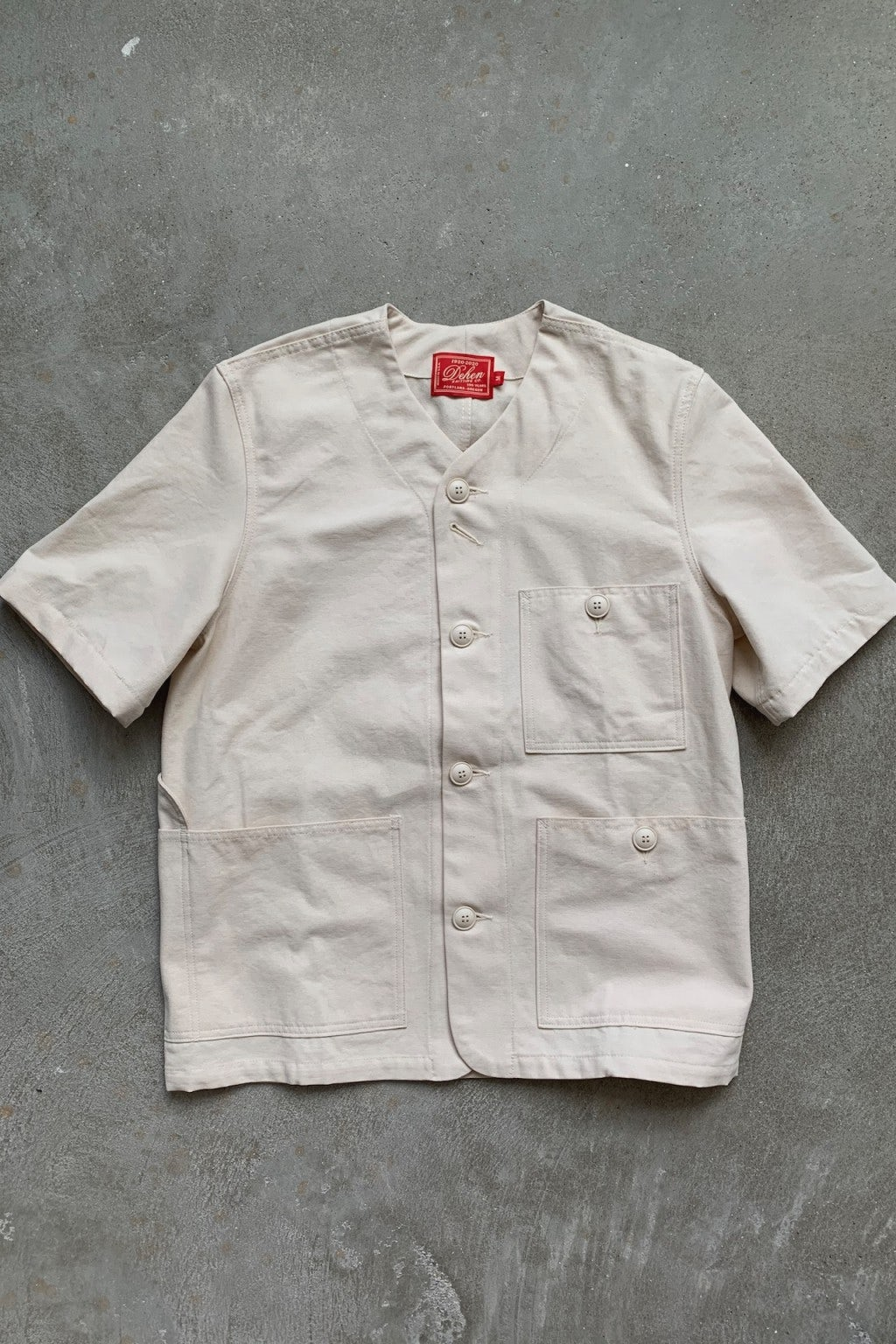 Dehen 1920 Short Sleeve Utility Jacket Natural Canvas
