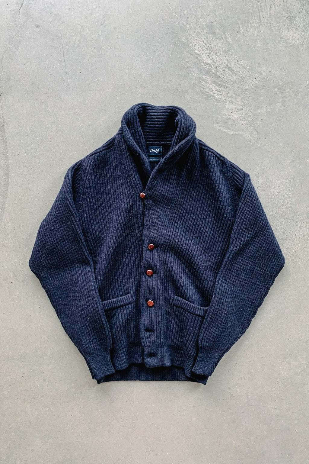 Drake's Lambswool Shawl Collar Cardigan Navy