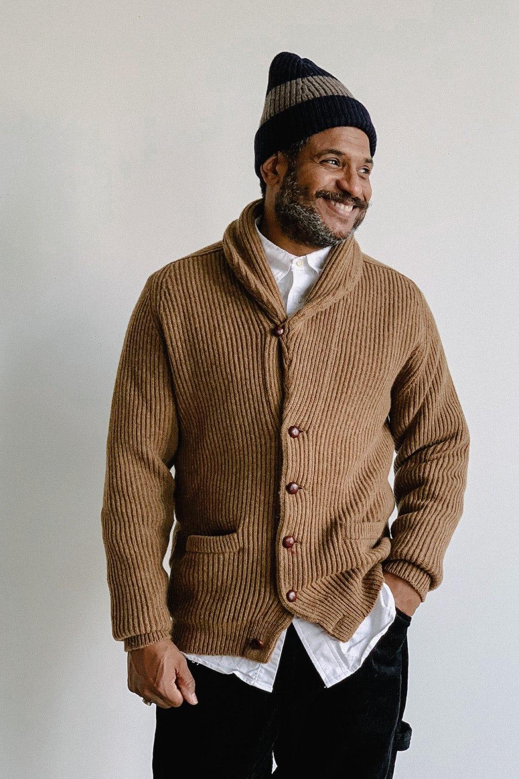 Drake's Lambswool Shawl Collar Cardigan Camel