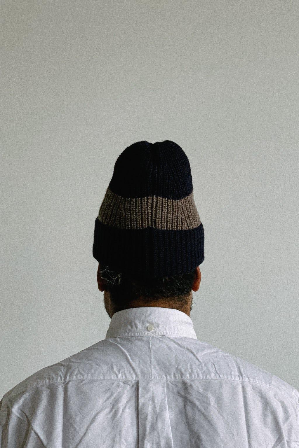 Drake's Block Stripe Beanie Navy/Grey