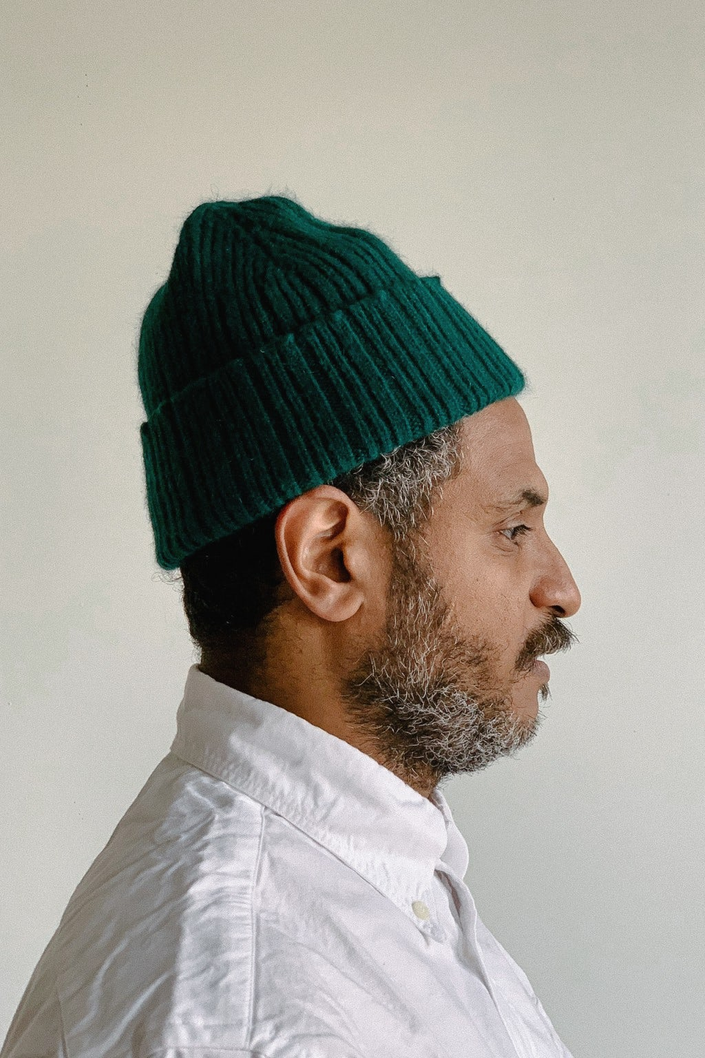 Drake's Ribbed Geelong-Angora Beanie Forest Green