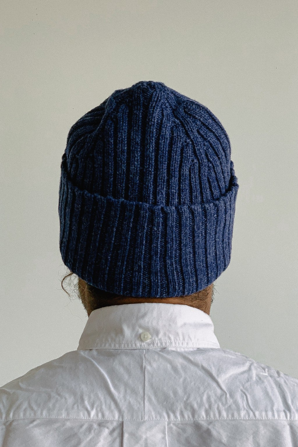Drake's Ribbed Lambswool Beanie Blue