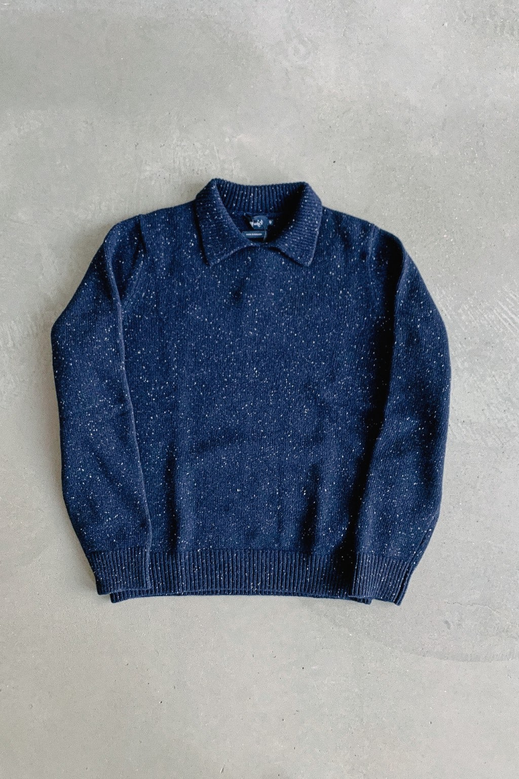Drake's Donegal Wool Integral Collar Jumper Navy