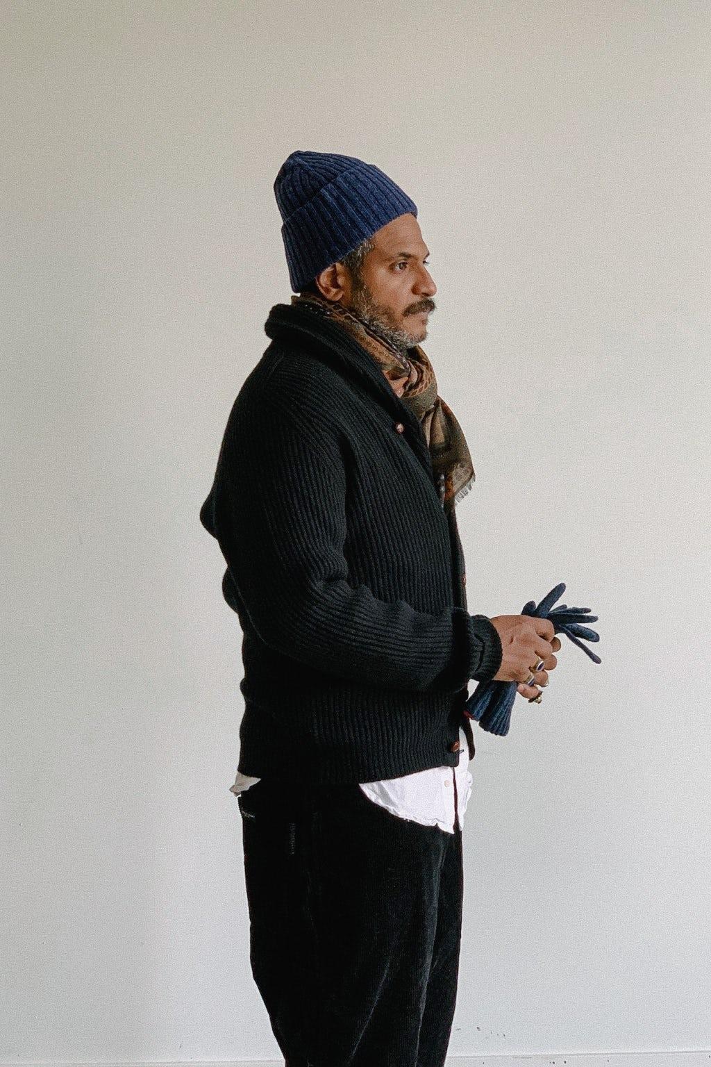 Drake's Lambswool Shawl Collar Cardigan Black