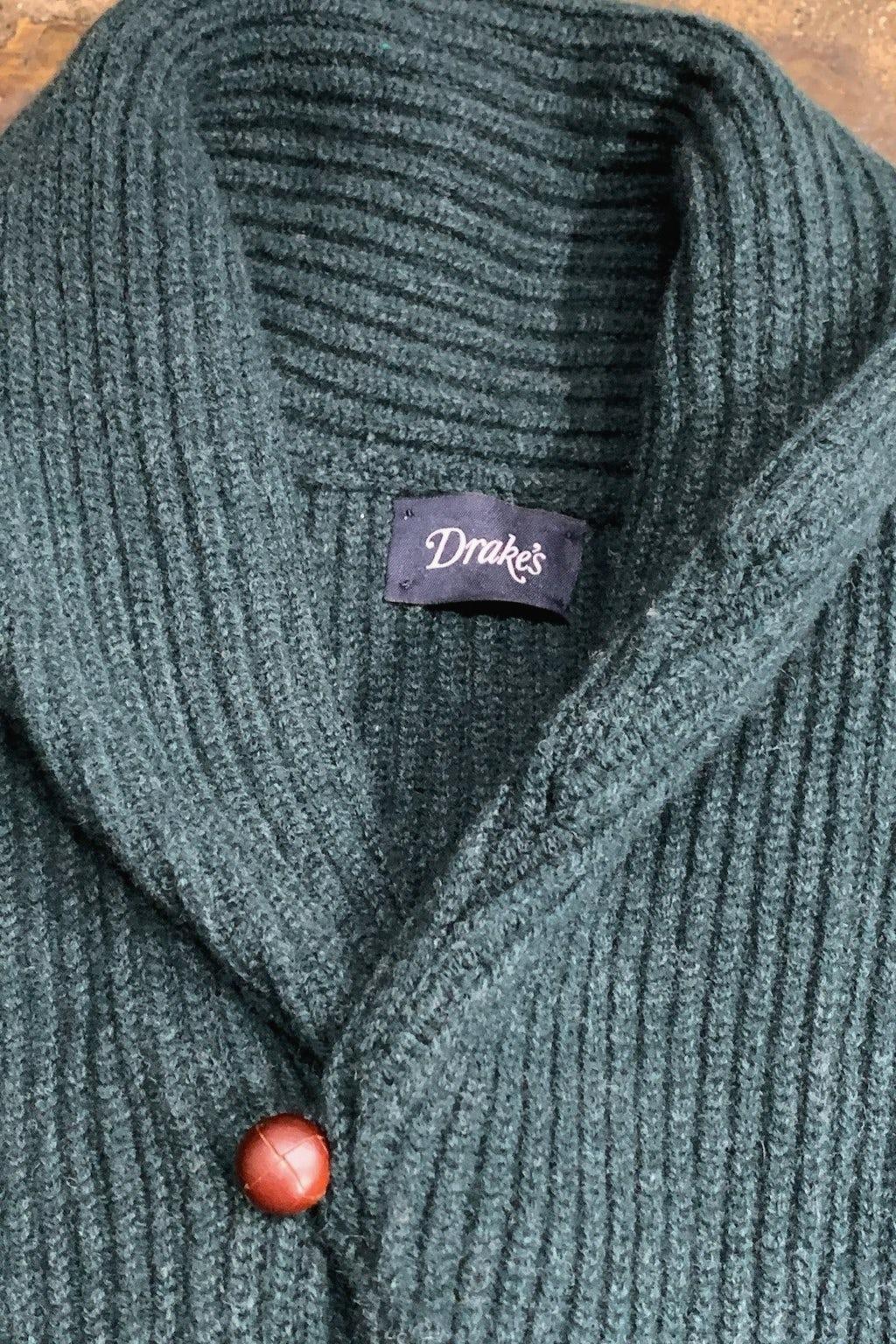 Drake's Sweater Shawl Collar Rib Cardigan Green