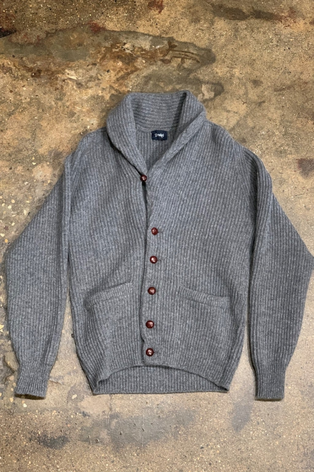Drake's Sweater Shawl Collar Rib Cardigan Grey