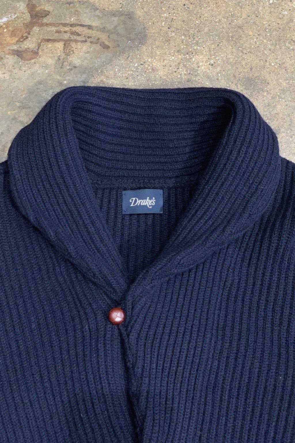 Drake's Sweater Shawl Collar Rib Cardigan Dark Navy