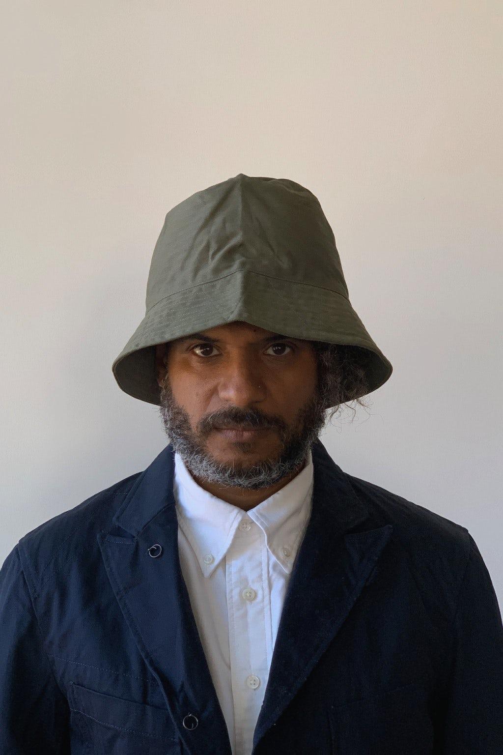 Engineered Garments Bucket Hat Olive Cotton Herringbone Twill