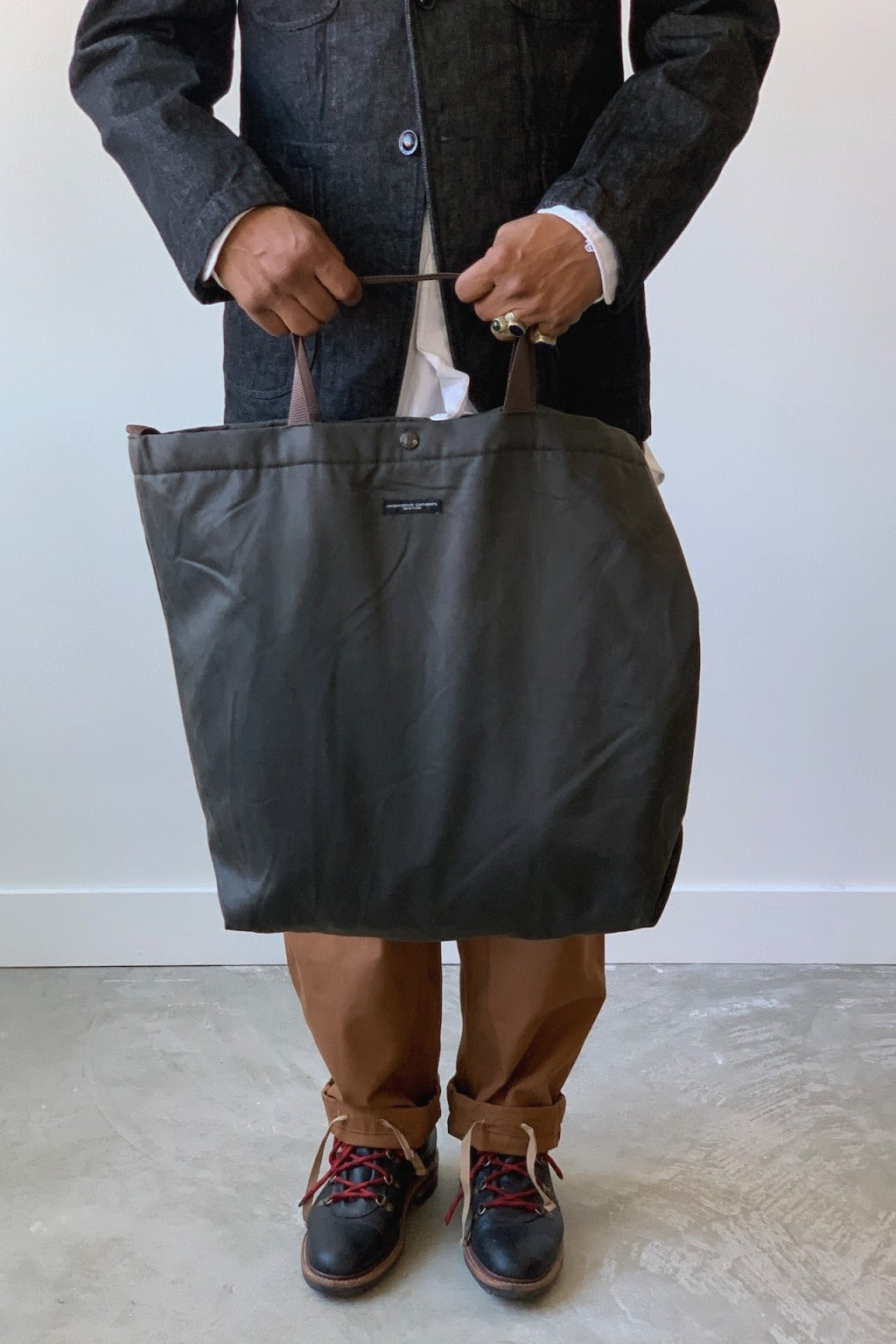 Engineered Garments Carry All Tote  Dark Olive Coated Twill