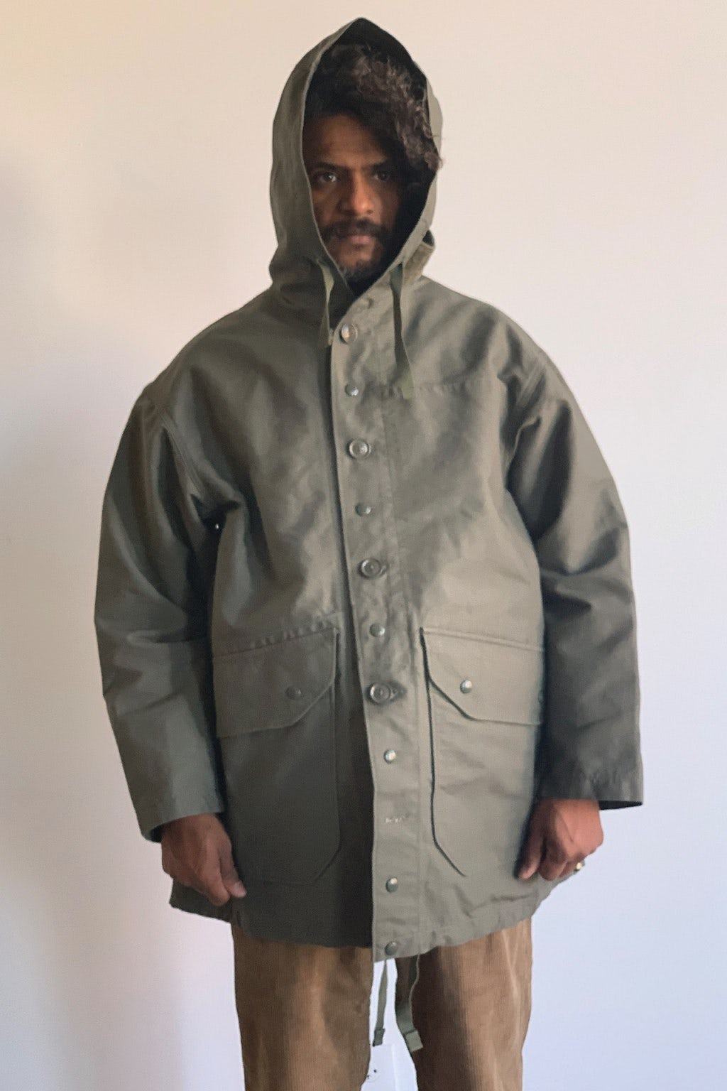 Engineered Garments Madison Parka Olive Cotton Double Cloth