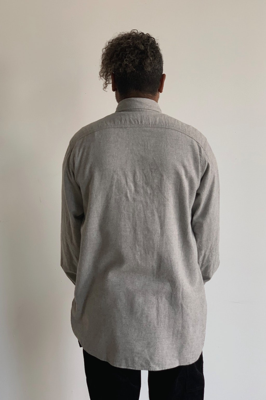 Engineered Garments Work Shirt Light Grey Brushed Cotton Twill