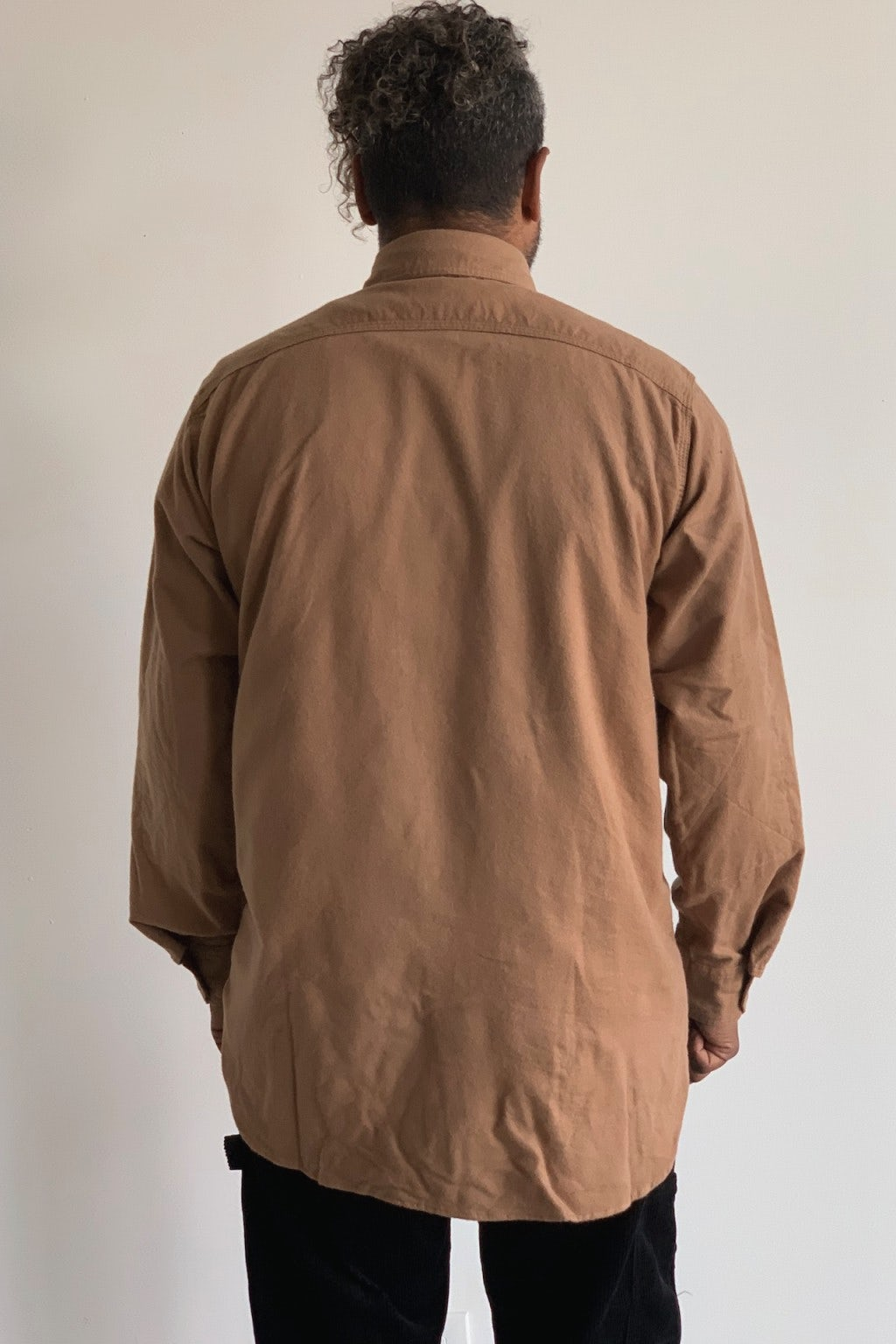 Engineered Garments Work Shirt  Khaki Solid Cotton Flannel