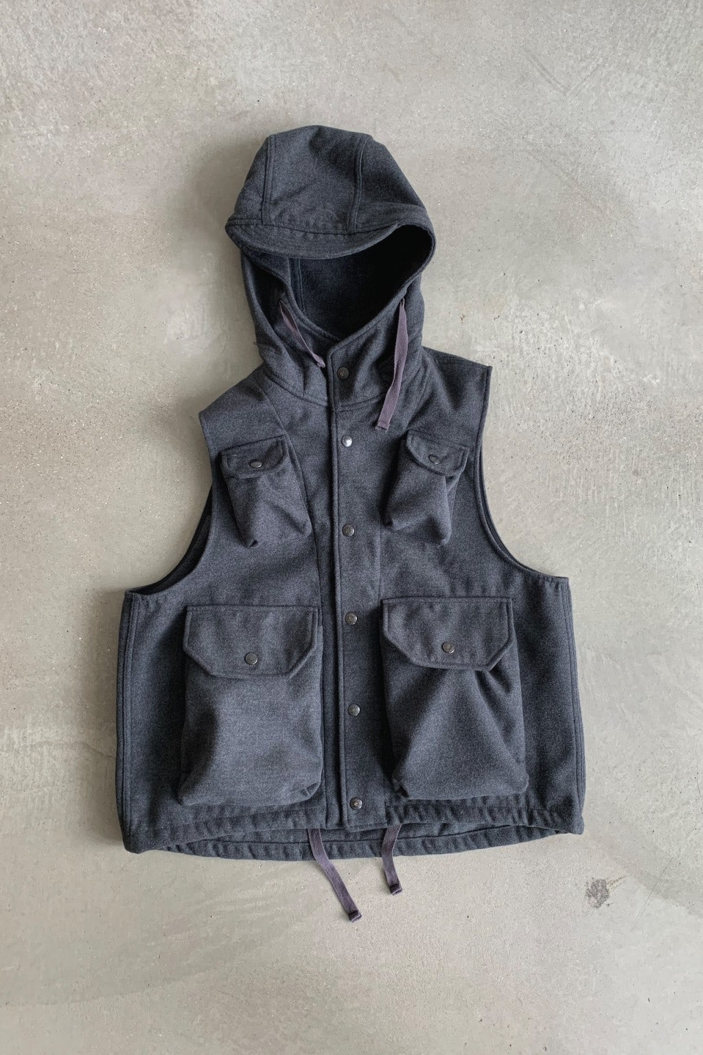 Engineered Garments Field Vest Charcoal Polyester Fake Melton