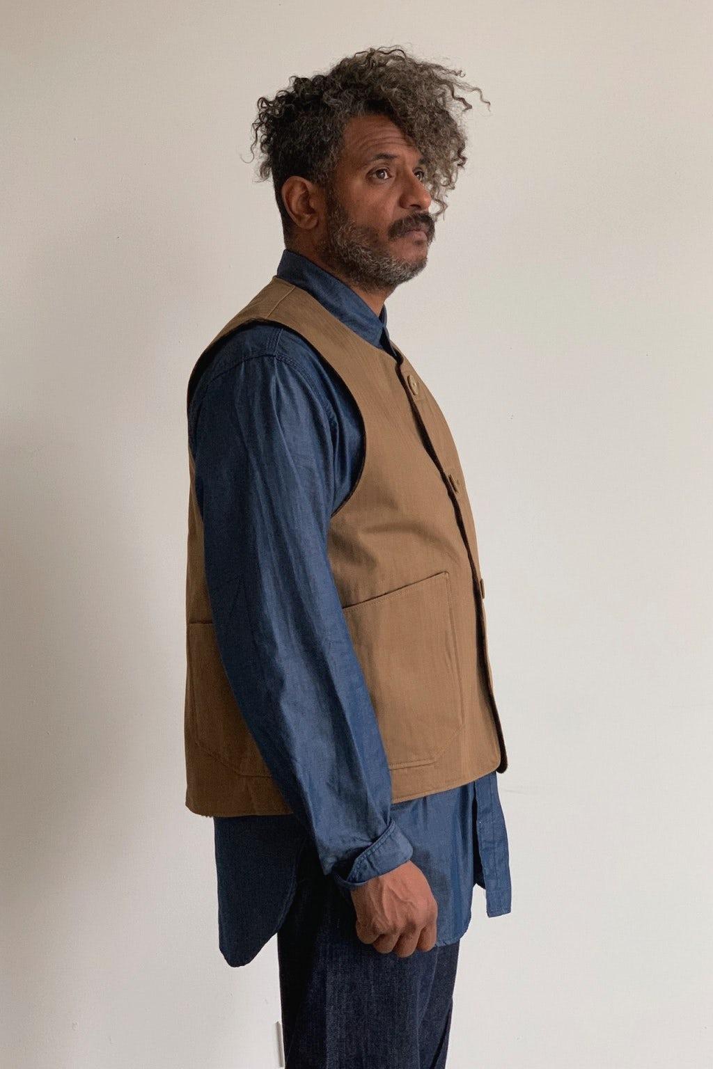 Engineered Garments Over Vest Brown Herringbone
