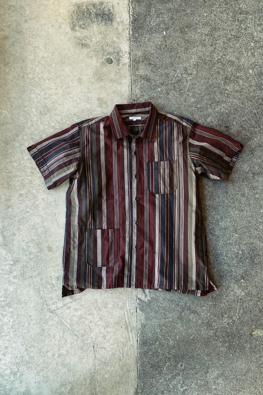 Engineered Garments Camp Shirt Brown Cotton Variegated
