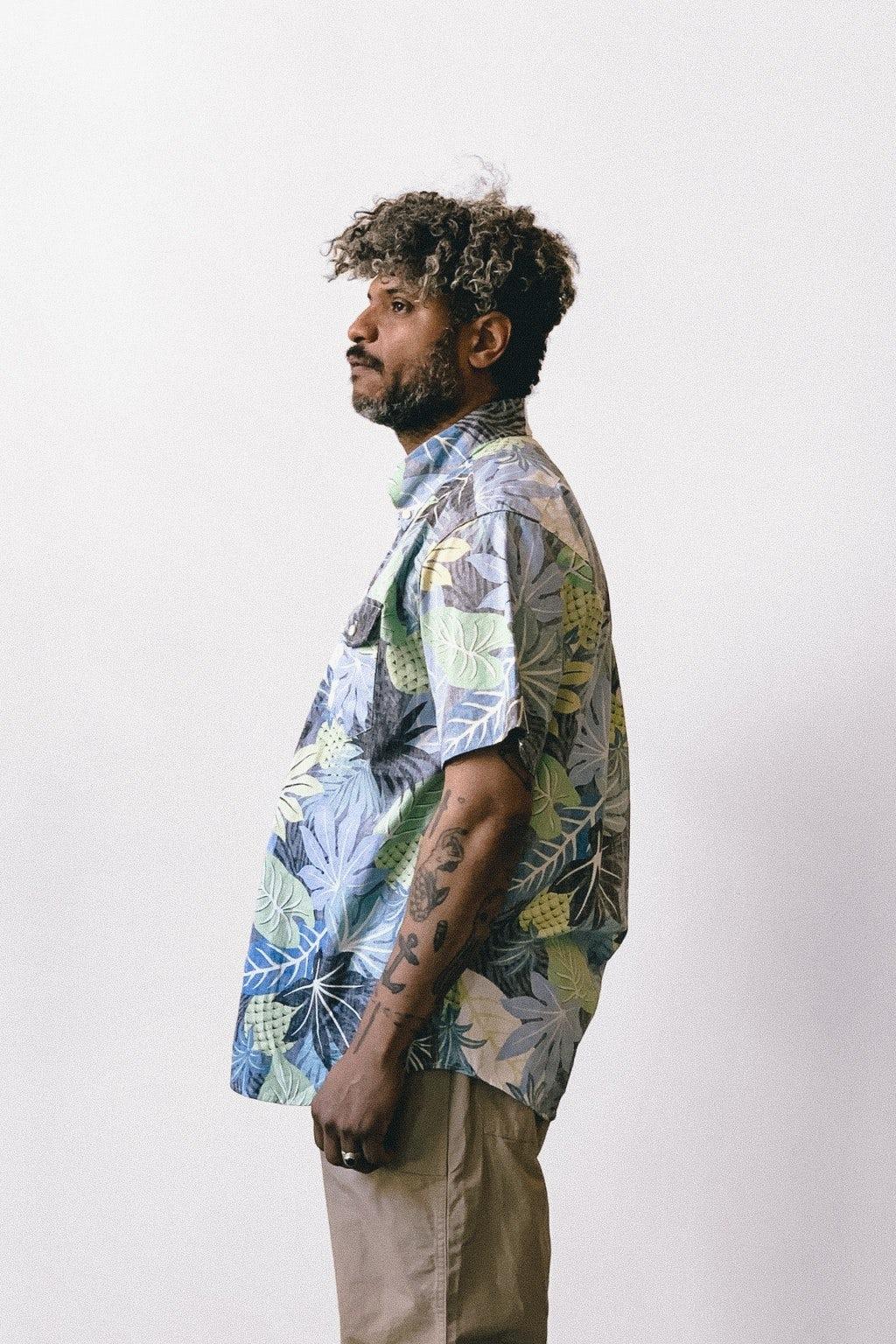 Engineered Garments Popover BD Shirt Black/Blue Cotton Big Hawaiian Floral Print