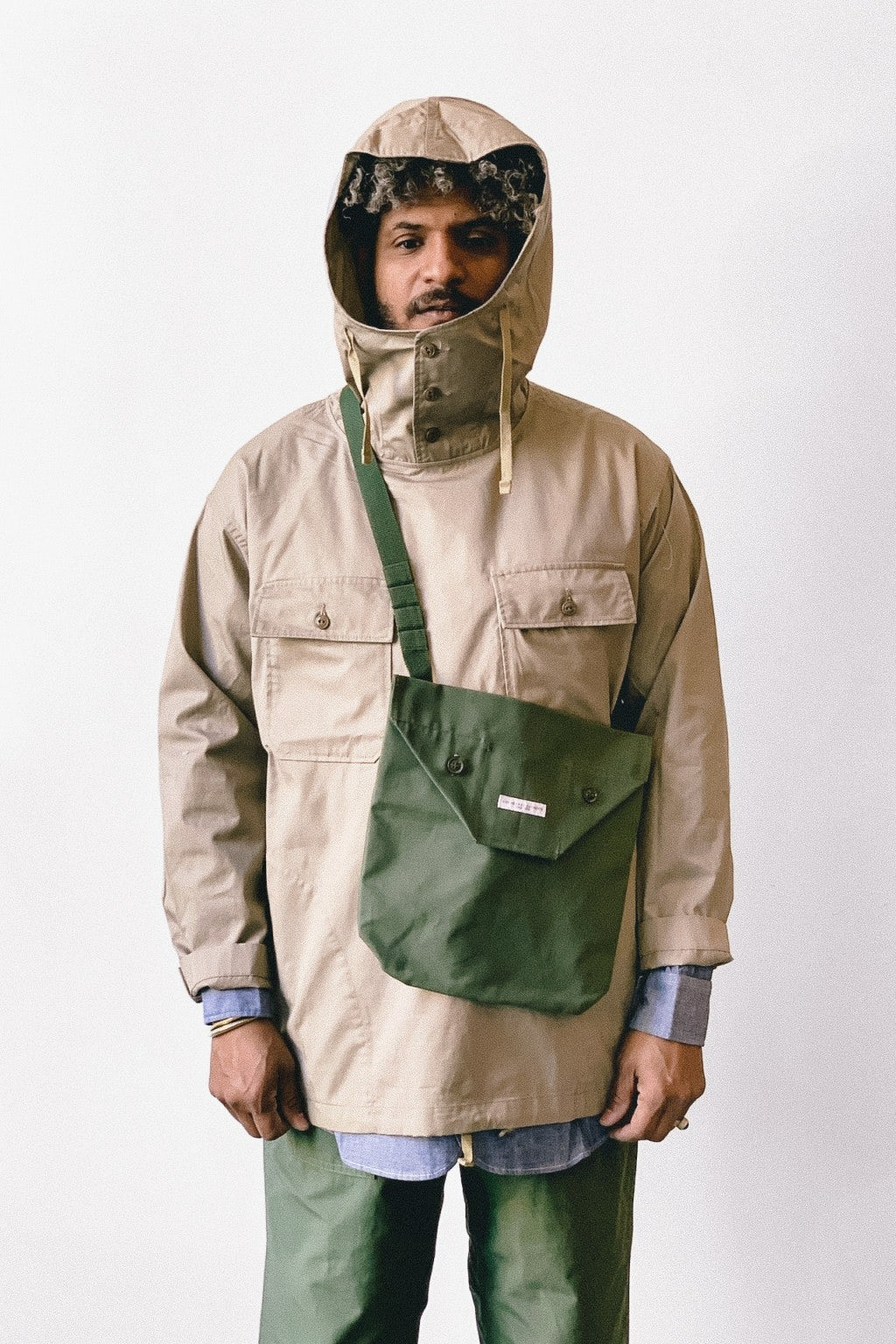 Engineered Garments Cagoule Shirt Khaki High Count Twill