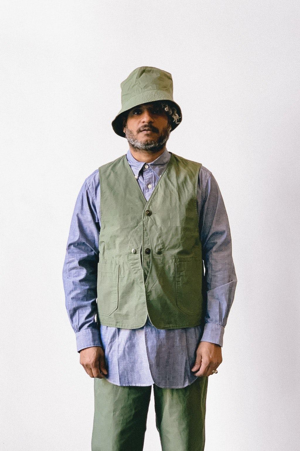 Engineered Garments Upland Vest Olive Cotton Ripstop